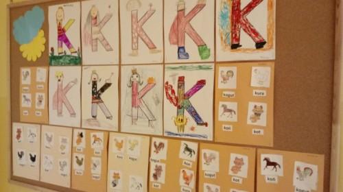 """Obrazek galerii """"Utrwalenie litery k K""""- grupa 5."""