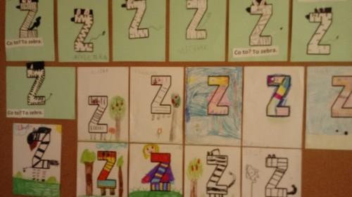 """Obrazek galerii """"Utrwalenie litery Z""""- grupa 5."""