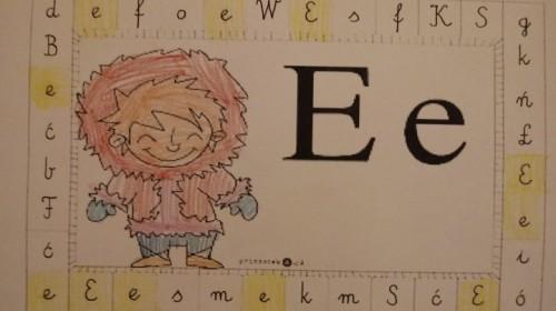 "Obrazek galerii ""Utrwalenie litery e, E""- grupa 5."